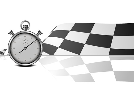 finish flag: detailed illustration of a racing flag with stop watch