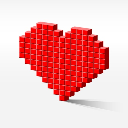 internet dating: detailed illustration of a pixel heart in perspective, internet dating concept