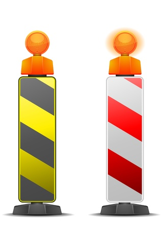detailed illustration of traffic and construction safety poles isolated on white Stock Vector - 17105909