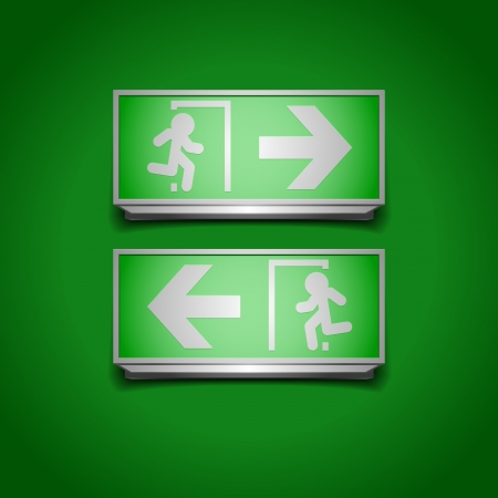 emergency light: detailed illustration of emergency exit signs