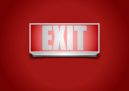 emergency exit sign icon: detailed illustration of a red exit sign Illustration
