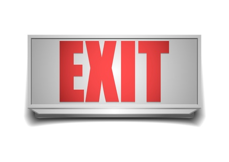 emergency light: detailed illustration of a white exit sign with red letters Illustration