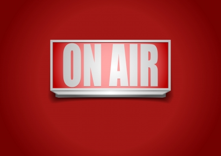 live on air: detailed illustration of a red on air sign