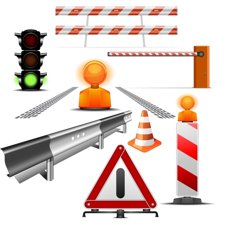 set of detailed traffic and construction illustrations isolated on white Vector