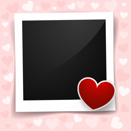 instant message: detailed illustration of a retro photo frame on heart background