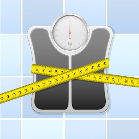 bathroom scale: detailed illustration of an analog bathroom scale wrapped in measure tape Illustration