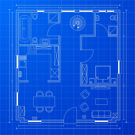 architect drawing: detailed illustration of a blueprint floorplan Illustration