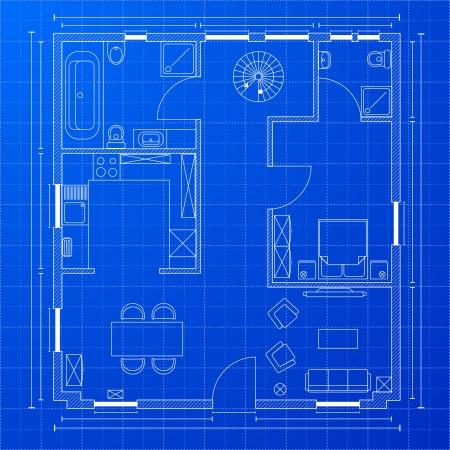 ilustración detallada de un plano de anteproyecto Ilustración de vector