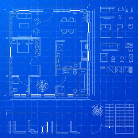 detailed illustration of a blueprint floorplan with various design elements