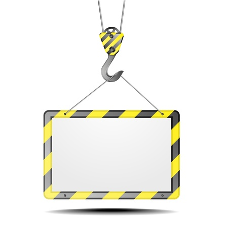building safety: detailed illustration of a blank construction frame on a hook Illustration