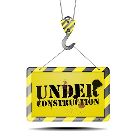 detailed illustration of an under counstruction sign on a hook Stock Vector - 17754568