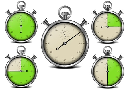 illustration of a metal framed stop watch with marked time intervals