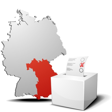 detailed illustration of ballot box in front of a 3D outline of Germany with a red marked province Bavaria Vector