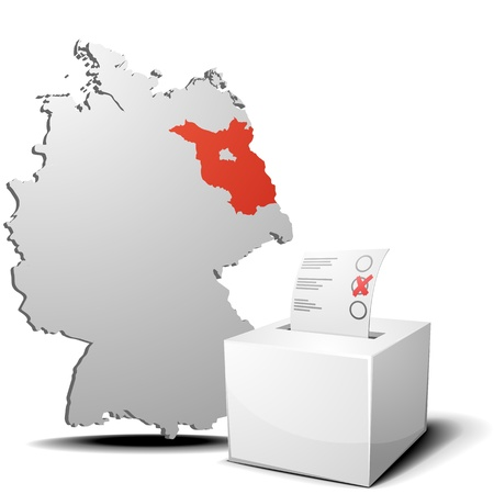 detailed illustration of ballot box in front of a 3D outline of Germany with a red marked province Brandenburg Stock Vector - 17754531