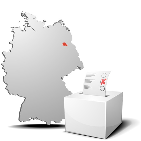 ballot box: detailed illustration of ballot box in front of a 3D outline of Germany with a red marked province Berlin