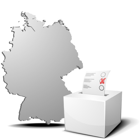 detailed illustration of ballot box in front of a 3D outline of Germany Stock Vector - 17754555