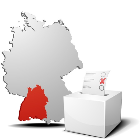 detailed illustration of ballot box in front of a 3D outline of Germany with a red marked province Baden-Wuerttemberg Vector