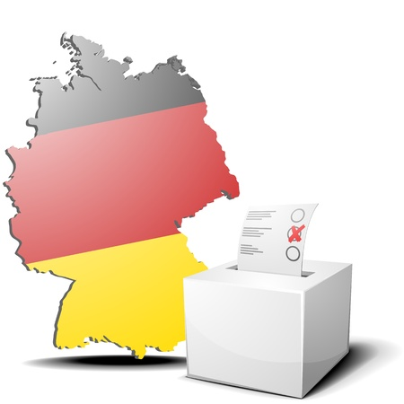 detailed illustration of ballot box in front of a 3D outline of Germany with flag Stock Vector - 17754560