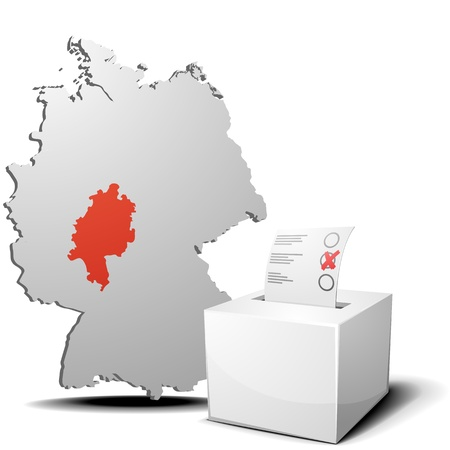 voting ballot: detailed illustration of ballot box in front of a 3D outline of Germany with a red marked province Hessen