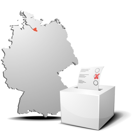 detailed illustration of ballot box in front of a 3D outline of Germany with a red marked province Hamburg Stock Vector - 17754543