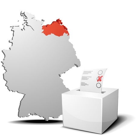 detailed illustration of ballot box in front of a 3D outline of Germany with a red marked province Mecklenburg-West Pomerania Stock Vector - 17754547