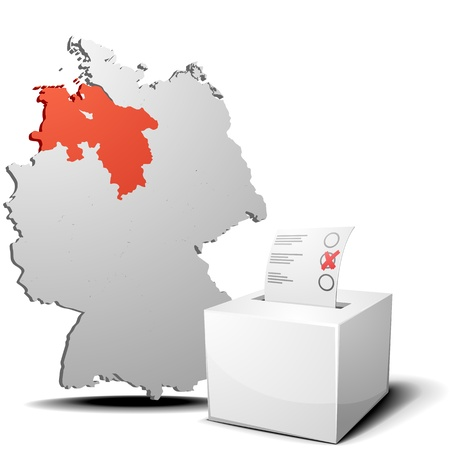 detailed illustration of ballot box in front of a 3D outline of Germany with a red marked province Lower Saxony