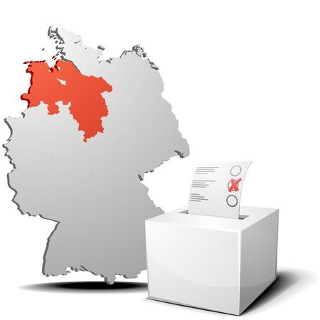detaillierte Darstellung der Wahlurne vor einem 3D-Umrisse von Deutschland mit einem rot markierten Provinz Niedersachsen