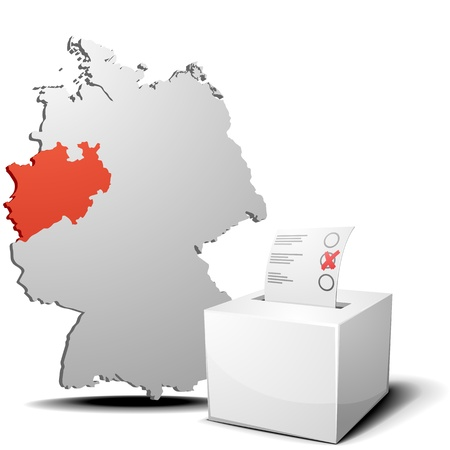 detailed illustration of ballot box in front of a 3D outline of Germany with a red marked province North Rhine-Westphalia Stock Vector - 17753689