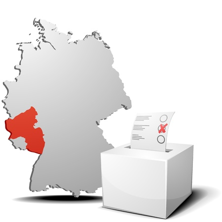 palatine: detailed illustration of ballot box in front of a 3D outline of Germany with a red marked province Rhineland-Palatine Illustration