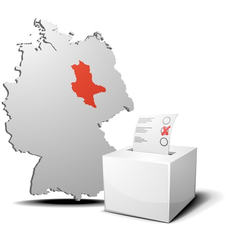 detailed illustration of ballot box in front of a 3D outline of Germany with a red marked province Saxony-Anhalt Vector