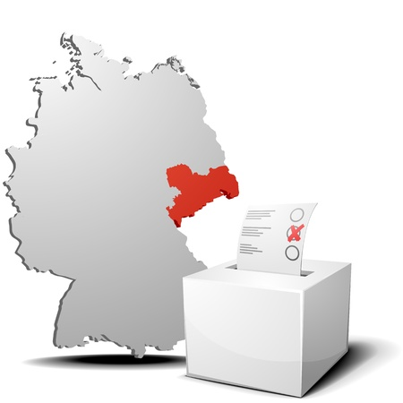 voter: detailed illustration of ballot box in front of a 3D outline of Germany with a red marked province Saxony Illustration