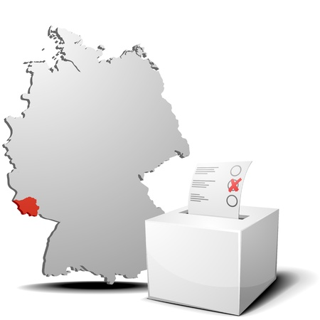 detailed illustration of ballot box in front of a 3D outline of Germany with a red marked province Saarland Vector
