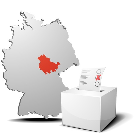 detailed illustration of ballot box in front of a 3D outline of Germany with a red marked province Thuringia Vector