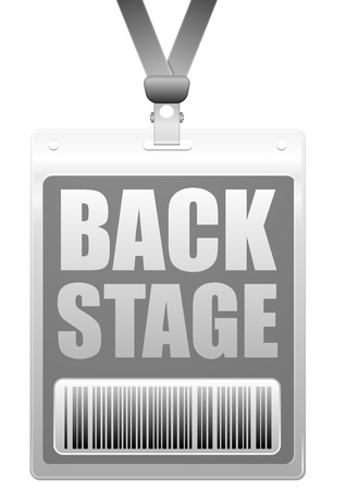 sign holder: detailed illustration of a plastic backstage badge with barcode