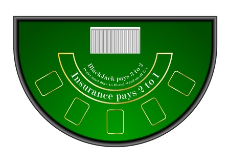 table set: detailed illustration of a black jack gambling table