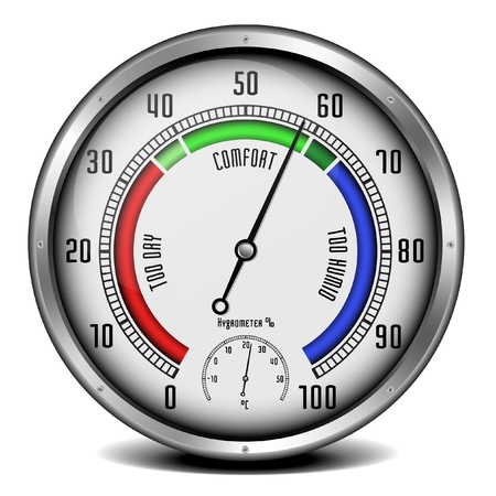 damp: illustration of a metal framed hygrometer with a thermometer unit Illustration