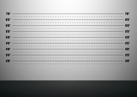 ilustración detallada de un fondo mugshot con escalas pulgadas