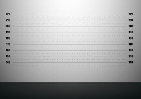 carcel: ilustración detallada de un fondo mugshot con escalas métricas