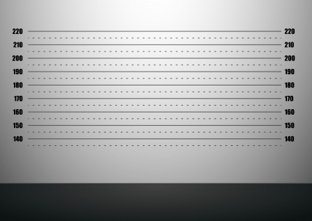 testigo: ilustraci�n detallada de un fondo mugshot con escalas m�tricas