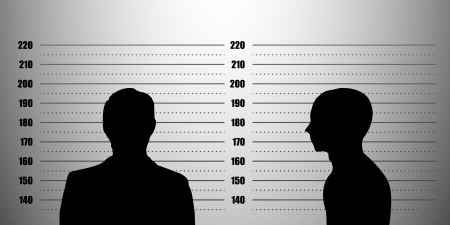 witness: detailed illustration of a mugshot background with a portrait and profile silhouette, metric scales