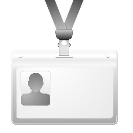 personalize: detailed illustration of a name badge with photo frame