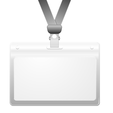 personalize: detailed illustration of a blank plastic name tag