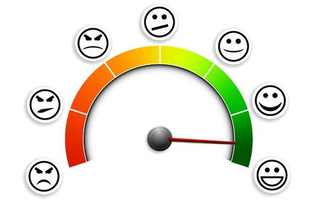 kunden: detaillierte Darstellung einer Kundenzufriedenheit Meter mit Smilies Illustration