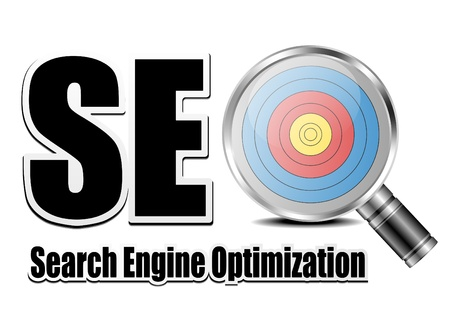optimize: SEO Concept illustration with magnifier icon