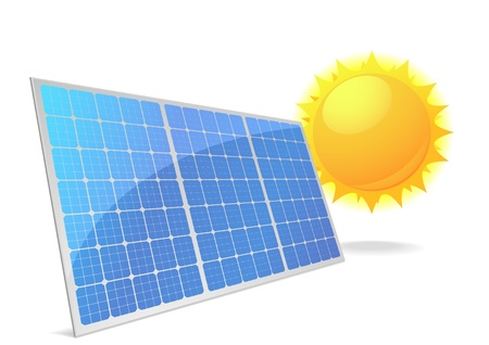 photovoltaic power station: illustration of a panel with solar cells and reflection