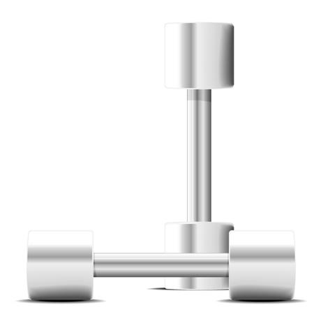 detailed illustration of steel dumbbells, fitness exercise equipment