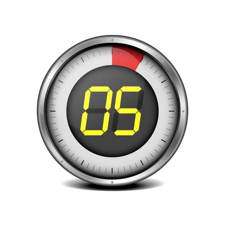 chronometer: illustration of a metal framed timer with the number 5