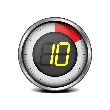stop watch: illustration of a metal framed timer with the number 10 Illustration