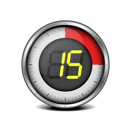 illustration of a metal framed timer with the number 15