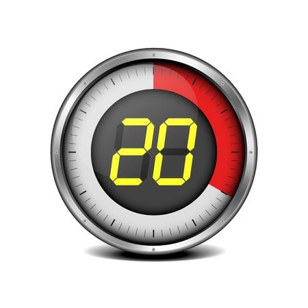 digital timer: illustration of a metal framed timer with the number 20 Illustration